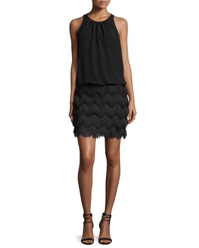 Sleeveless Fringe-Skirt Cocktail Dress, Black