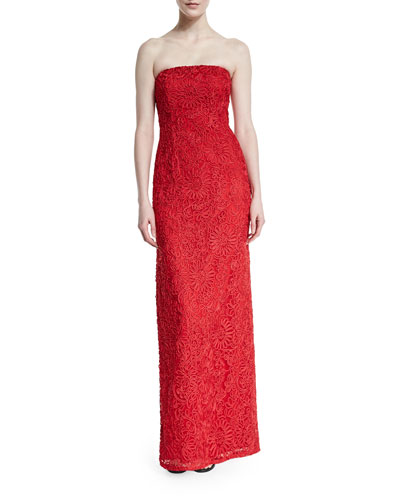 Strapless Soutache Column Gown, Red