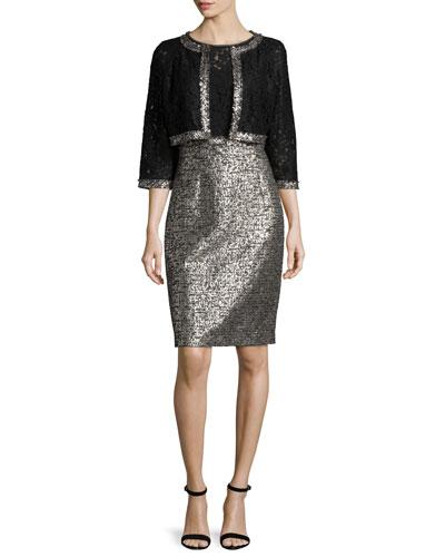 Jacket & Dress Two-Piece Set, Black/White