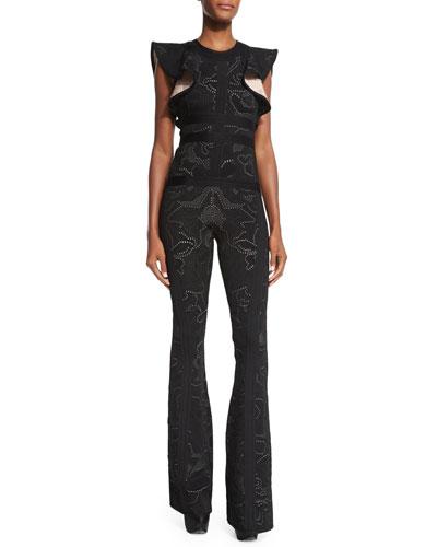 Butterfly-Sleeve Flare-Leg Jumpsuit, Black/Combo