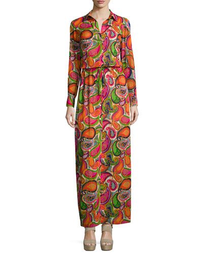 Long-Sleeve Printed Maxi Dress, Multi Colors
