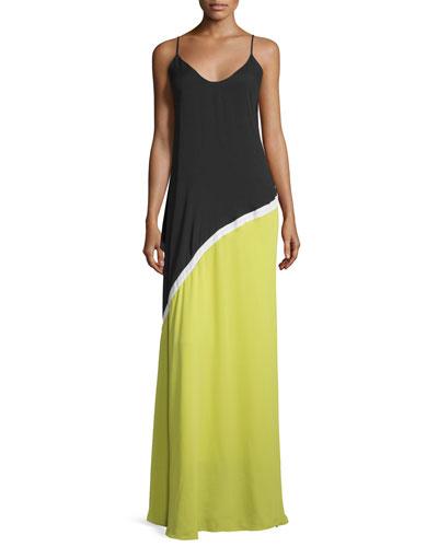 Sleeveless Colorblock Evening Gown, Black/Chalk/Citrus