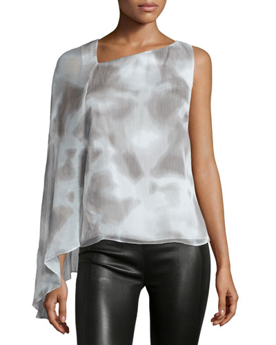 Draped-Sleeve Asymmetric-Neck Top, Mist/White