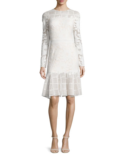 Long-Sleeve Mixed-Media Dress, Ivory/Primrose