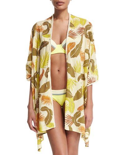 Rain-Kissed Leaves Open-Front Kimono Coverup, Multi Colors