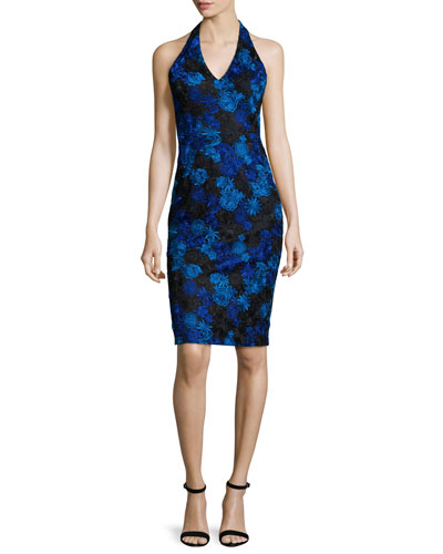 Halter-Neck Floral-Lace Cocktail Dress, Cobalt/Black