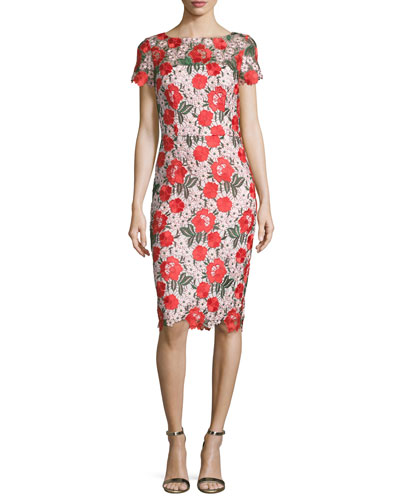 Floral Embroidered Lace Sheath Cocktail Dress