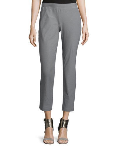 Washable-Crepe Straight-Leg Pants, Smoke
