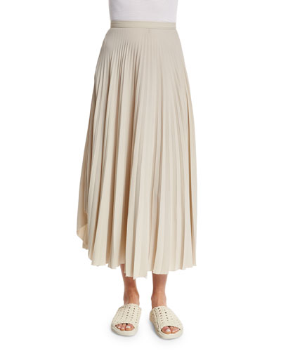 Pleated Chiffon High-Waist Midi Skirt, Oyster