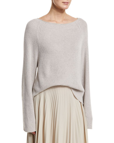 Cashmere-Blend Ribbed Pullover Sweater, Agate