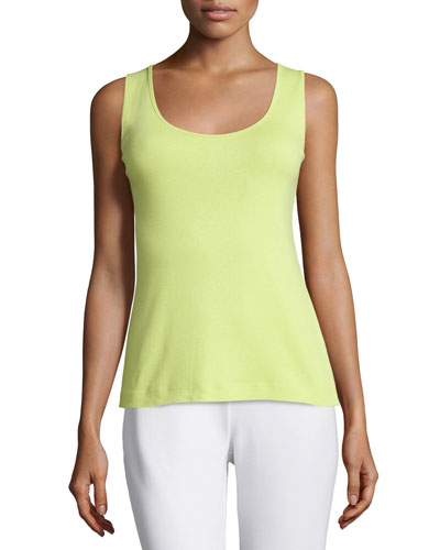 Soft Scoop-Neck Tank, Lime, Plus Size