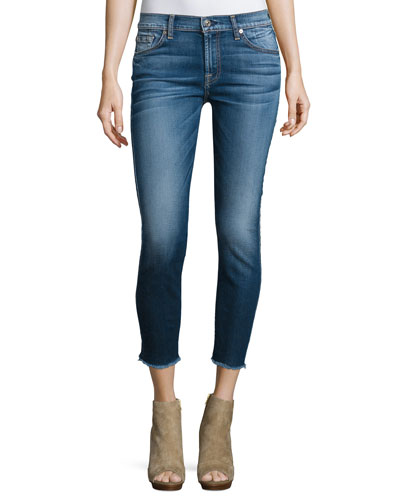 The Ankle Skinny Jeans W/Raw Hem, Bright Indigo Stretch