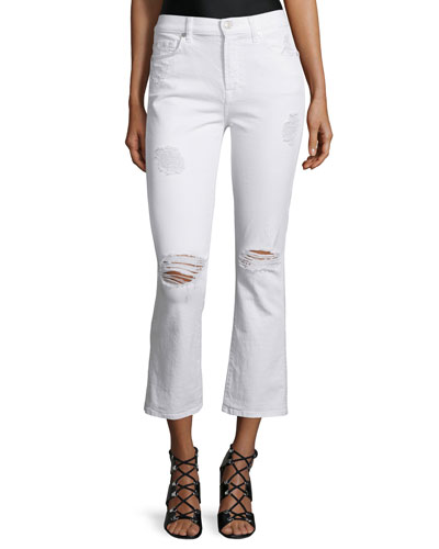 Mid-Rise Cropped Boot-Cut Jeans, Clean White 3