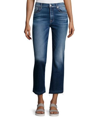Boot-Cut Cropped Jeans W/Released Hem, Bright Indigo