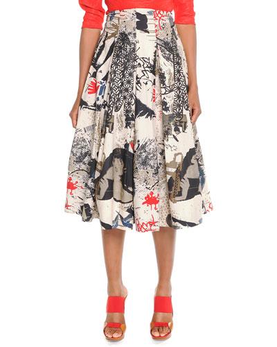 Street Art Printed Pleated Skirt