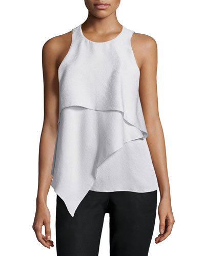 Sleeveless Tiered-Front Top, Vapor