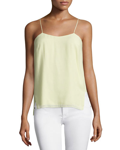 Square-Neck Tank W/Side Slits, Pistachio