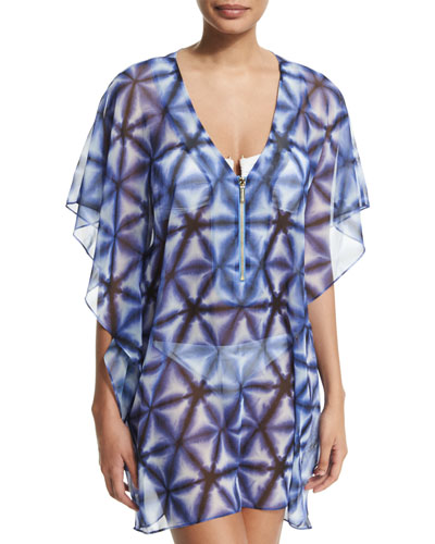 Printed Zip-Front Coverup Tunic