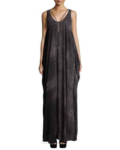 Sleeveless Scoop-Neck Flowy Gown, Black Print