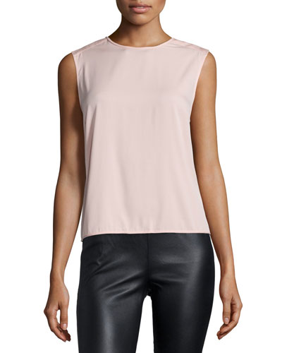 Sleeveless Draped-Back Top, Sorbet