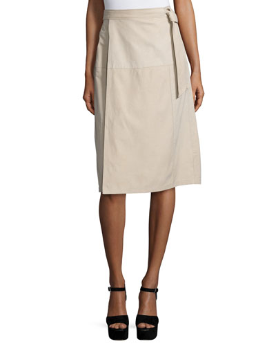 Wrap Belted Suede Skirt, Nude