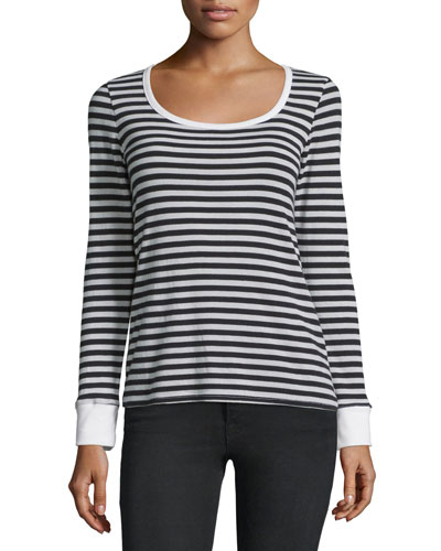 Boat-Neck Long-Sleeve Striped Top, Noir
