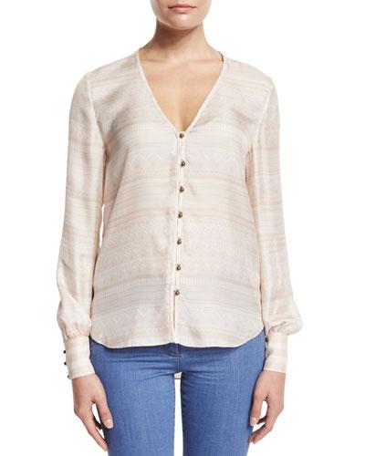 Bahia Silk Multipattern Blouse, Blush