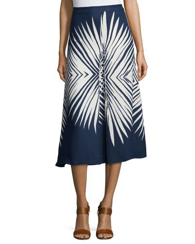 Ivy Pleated Midi Skirt, Navy/White