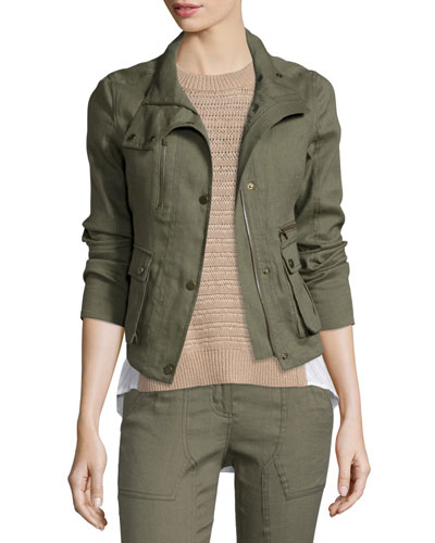 Everglade Linen-Blend Woven Jacket, Army Green