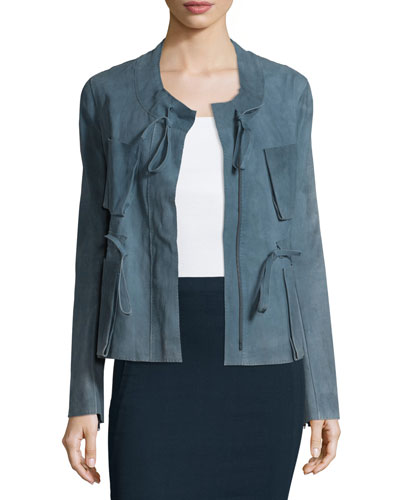 Zip-Front Drawstring Suede Jacket, Faded Indigo
