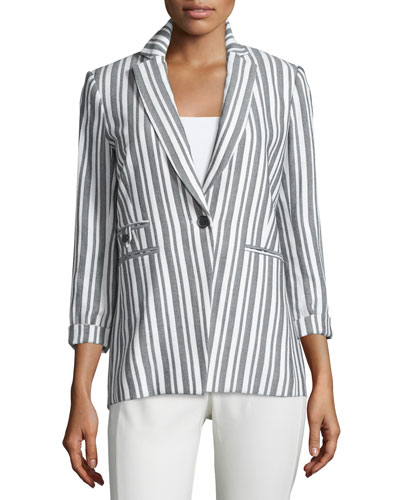 Beatriz Striped Bracelet-Sleeve Jacket, Black/White
