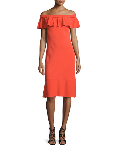 Oleta Ruffled Off-the-Shoulder Dress, Red