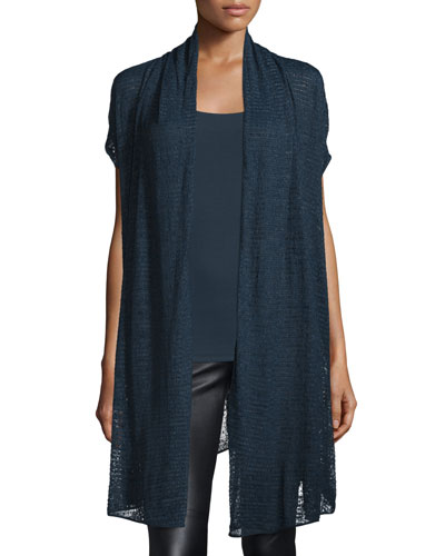Short-Sleeve Draped Cozy Cardigan, Deep Indigo