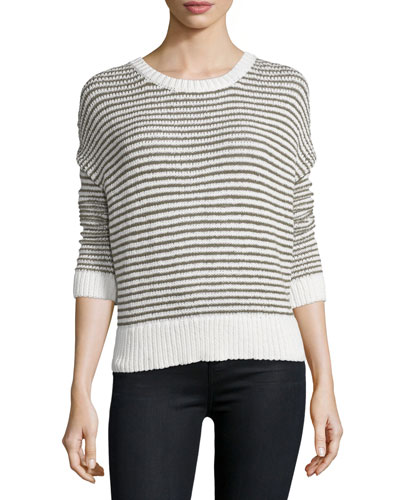 Alexandria Striped Long-Sleeve Sweater, White Aly