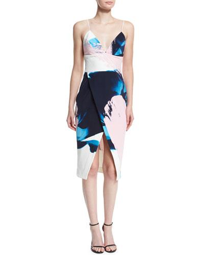 Sleeveless Paint-Floral Bra-Top Dress, Blue