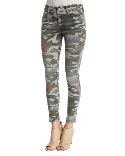 Halle Mid-Rise Super-Skinny Jeans, Camo Floral