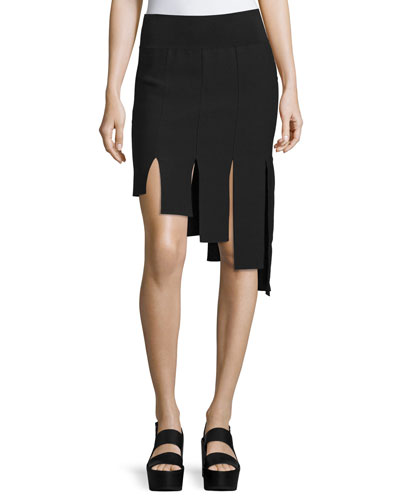 Asymmetric Paneled Skirt, Black