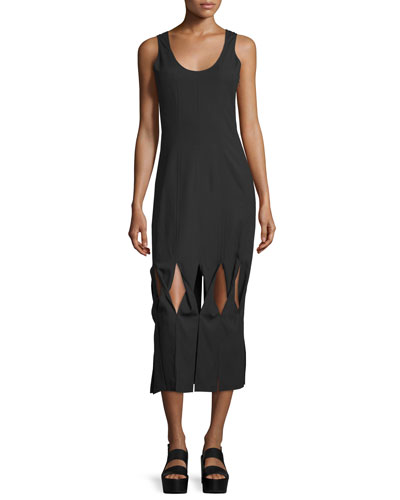 Glide Twist-Front Midi Dress, Black