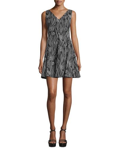 Laurel Jacquard Fit-and-Flare Dress, Black