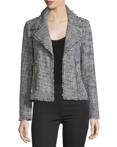 Tweed Open-Front Jacket with Frayed Trim