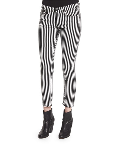 Bengal Striped Capri Jeans, Black/White Stripe