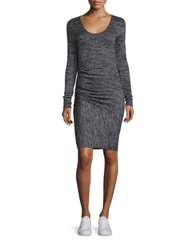 Twist Long-Sleeve Sheath Dress, Black Heather