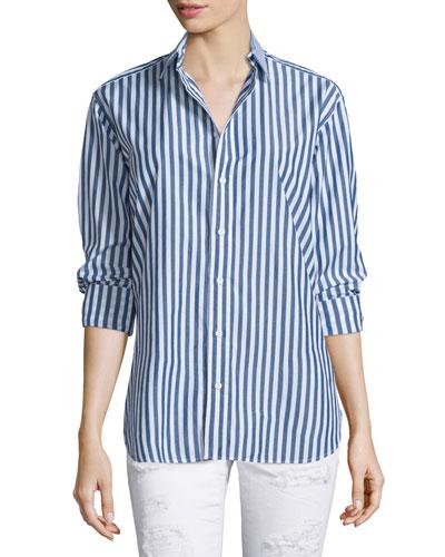 Button-Front Striped Boyfriend Shirt, Navy/White Stripe