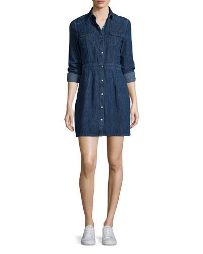 Long-Sleeve Snap-Front Utility Dress, Paz