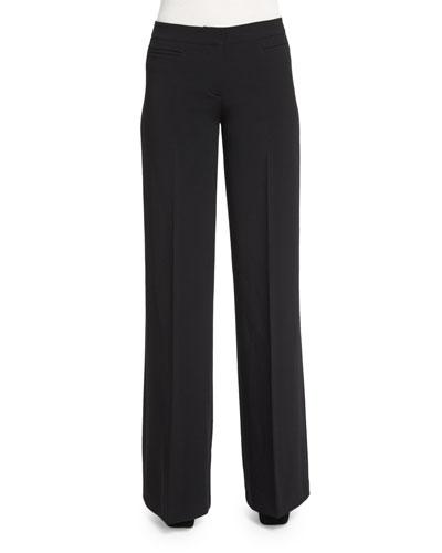 Wide-Leg Stretch Trousers, Black