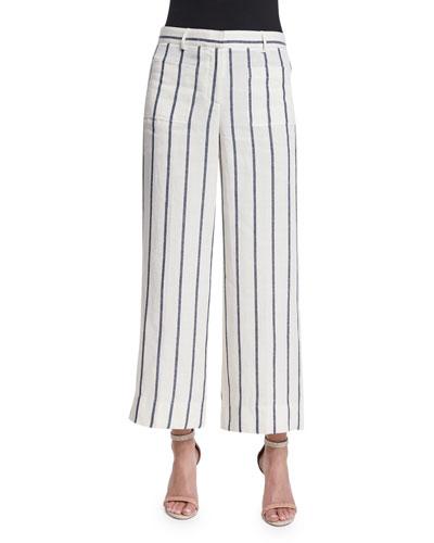 Livdale Wide-Leg Striped Linen Pants
