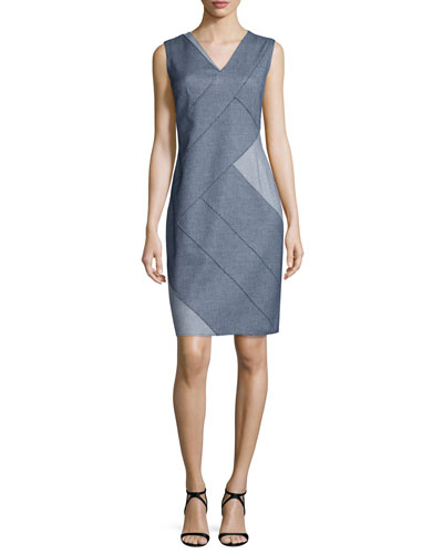 Judith Sleeveless Patch Sheath Dress, Indigo