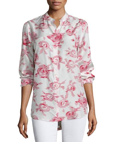 Henri Button-Front Floral-Print Blouse, White Sand/Quinacrodin