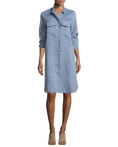Long-Sleeve Linen Shirtdress, Plus Size