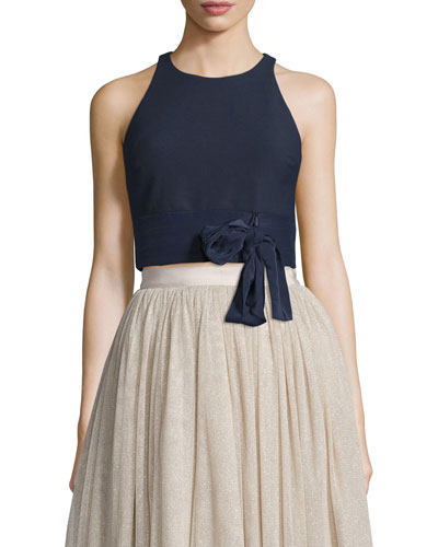 Eniko Sleeveless Crop Top, French Navy